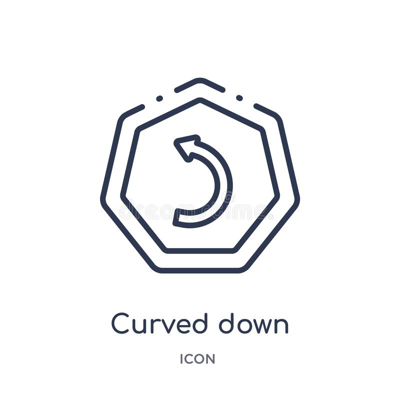 Linear curved down left arrow icon from Arrows outline collection. Thin line curved down left arrow vector isolated on white stock illustration