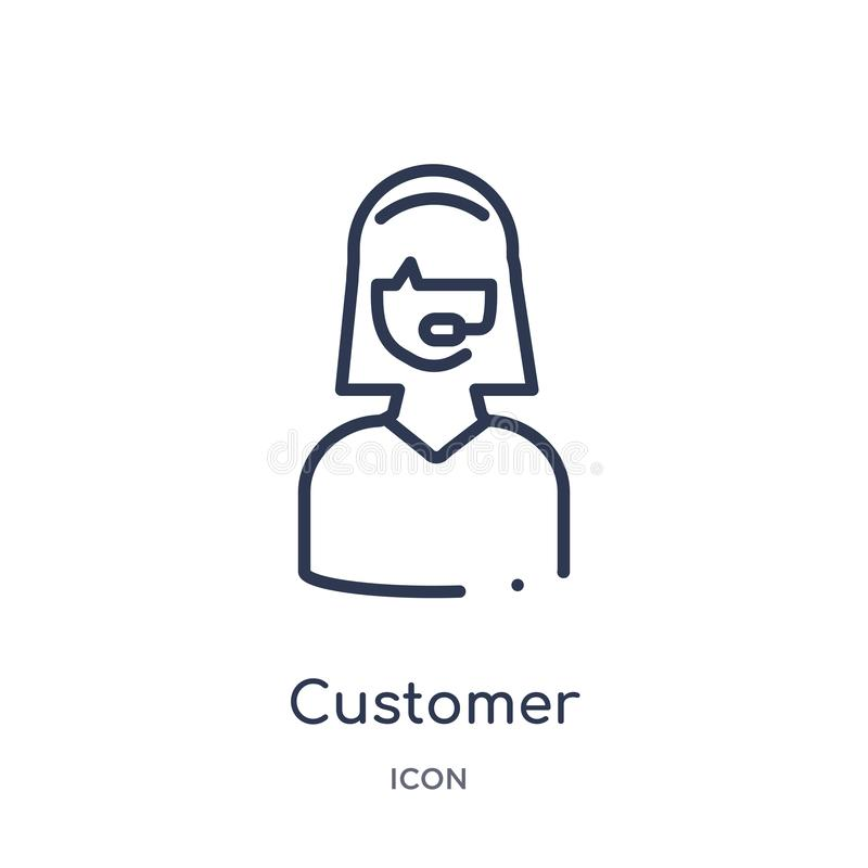 Linear customer icon from Customer service outline collection. Thin line customer vector isolated on white background. customer royalty free illustration