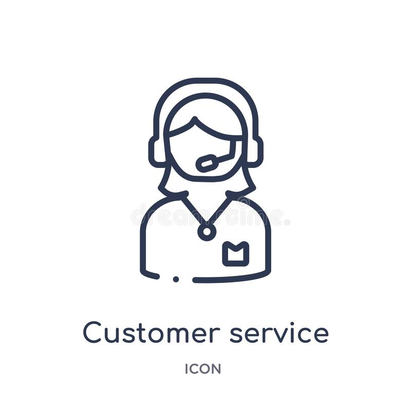 Linear customer service icon from Customer service outline collection. Thin line customer service vector isolated on white. Background. customer service trendy stock illustration