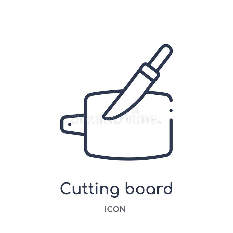 Linear cutting board with knife icon from Bistro and restaurant outline collection. Thin line cutting board with knife vector royalty free illustration