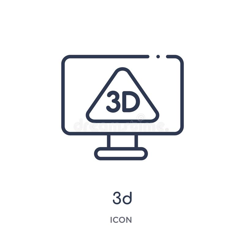 Linear 3d icon from Cinema outline collection. Thin line 3d vector isolated on white background. 3d trendy illustration vector illustration