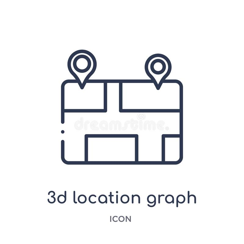 Linear 3d location graph icon from Business and analytics outline collection. Thin line 3d location graph vector isolated on white royalty free illustration