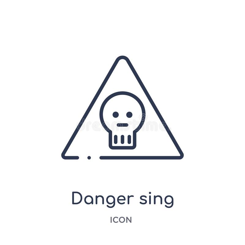 Linear danger sing icon from Airport terminal outline collection. Thin line danger sing vector isolated on white background. Danger sing trendy illustration vector illustration