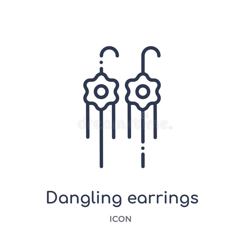 Linear dangling earrings icon from Fashion outline collection. Thin line dangling earrings icon isolated on white background. stock illustration