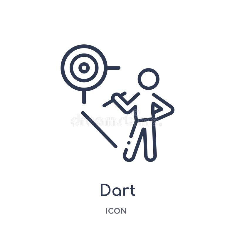Linear dart icon from Activity and hobbies outline collection. Thin line dart vector isolated on white background. dart trendy royalty free illustration