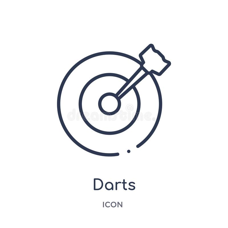 Linear darts icon from Entertainment and arcade outline collection. Thin line darts vector isolated on white background. darts royalty free illustration