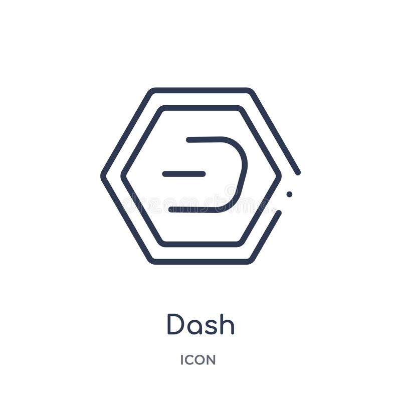Linear dash icon from Cryptocurrency economy and finance outline collection. Thin line dash vector isolated on white background. Dash trendy illustration royalty free illustration