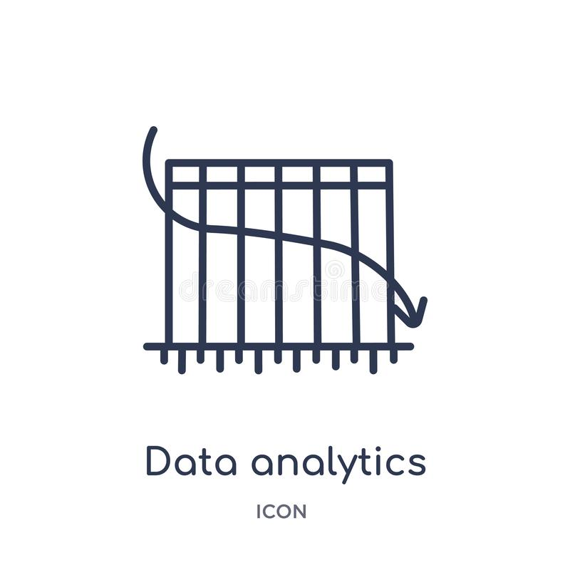 Linear data analytics bars chart with descendant line icon from Business outline collection. Thin line data analytics bars chart. With descendant line icon stock illustration