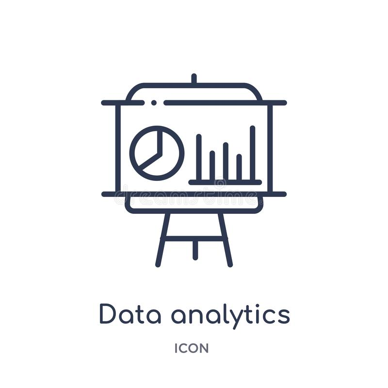 Linear data analytics graphic on a presentation screen icon from Business outline collection. Thin line data analytics graphic on vector illustration