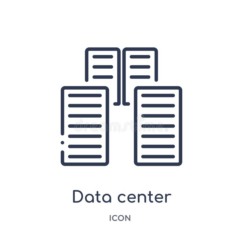 Linear data center icon from Internet security and networking outline collection. Thin line data center icon isolated on white royalty free illustration