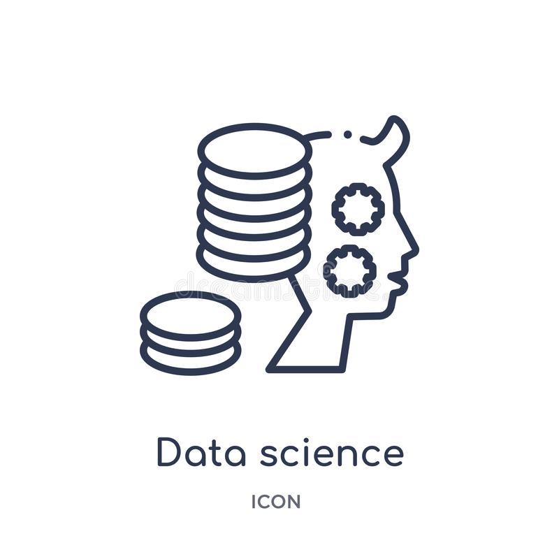 Linear data science icon from General outline collection. Thin line data science icon isolated on white background. data science stock illustration