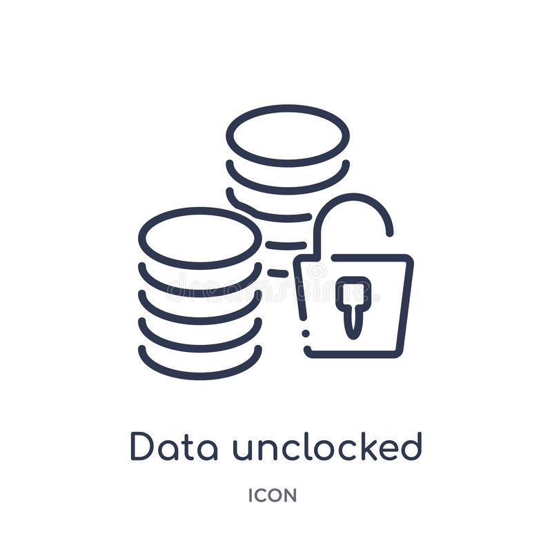 Linear data unclocked icon from Internet security and networking outline collection. Thin line data unclocked icon isolated on stock illustration