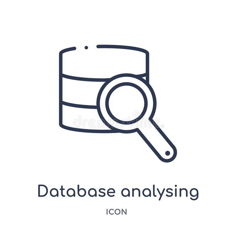 Linear database analysing icon from Business and analytics outline collection. Thin line database analysing vector isolated on stock illustration