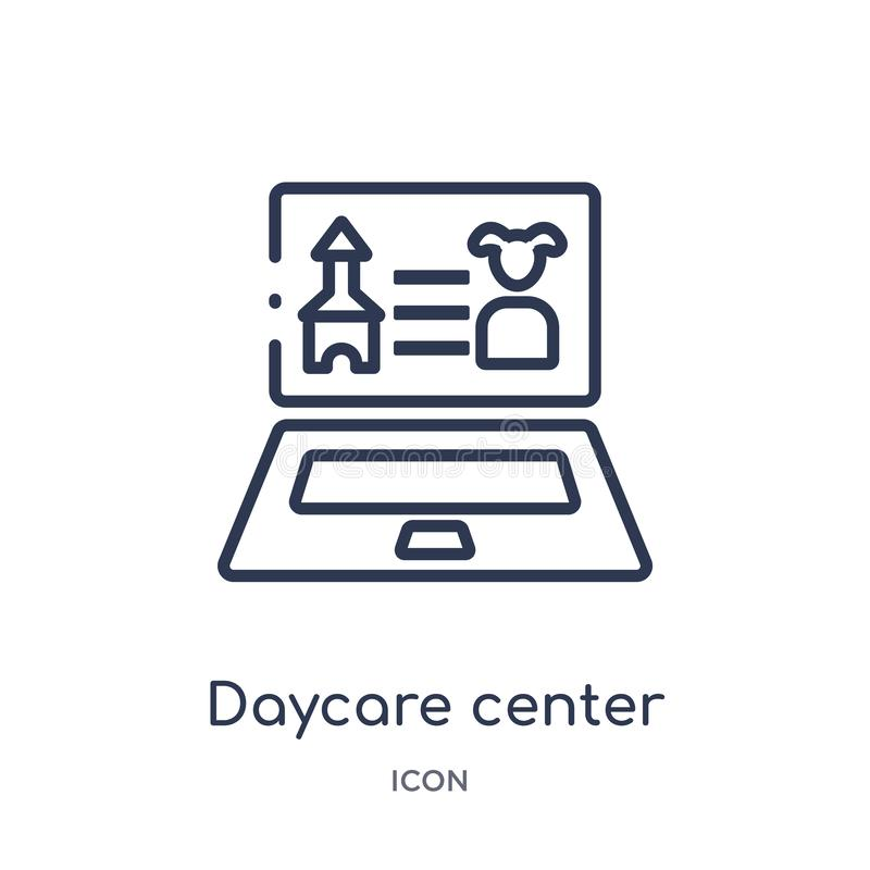 Linear daycare center icon from Elearning and education outline collection. Thin line daycare center vector isolated on white stock illustration