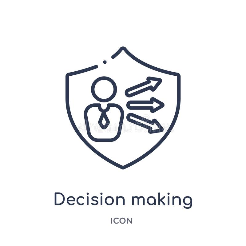 Linear decision making icon from Gdpr outline collection. Thin line decision making icon isolated on white background. decision stock illustration