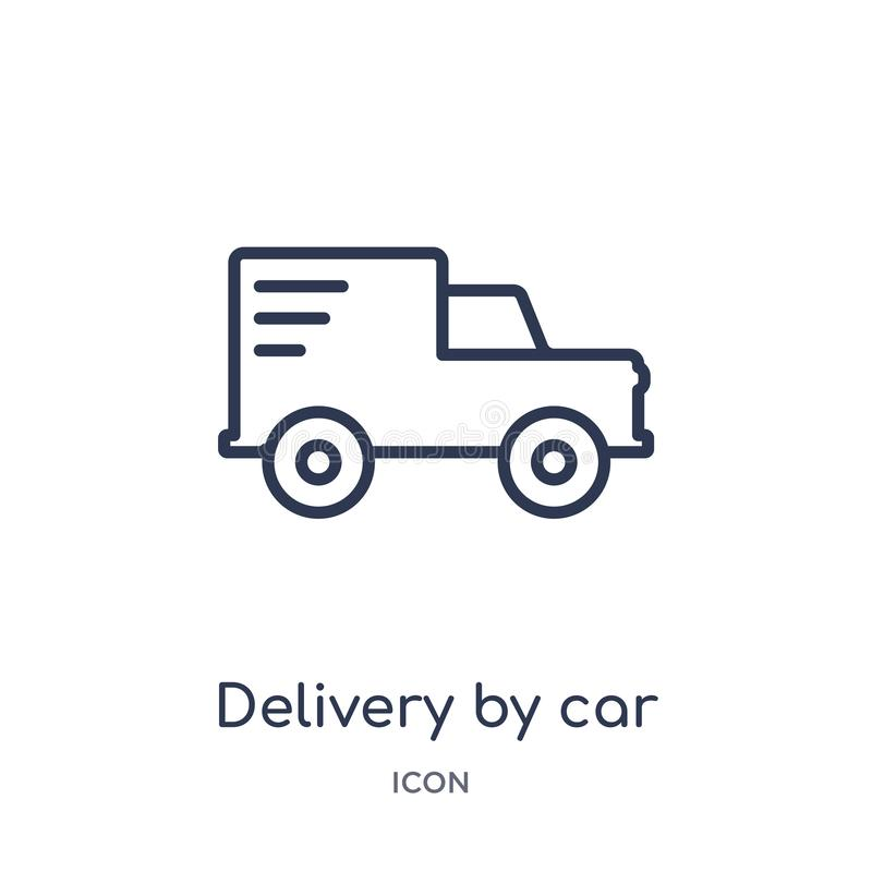 Linear delivery by car icon from Delivery and logistic outline collection. Thin line delivery by car vector isolated on white stock illustration