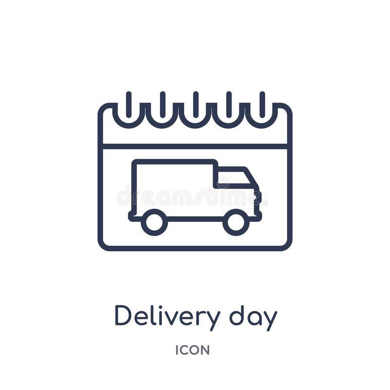 Linear delivery day icon from Delivery and logistic outline collection. Thin line delivery day vector isolated on white background stock illustration