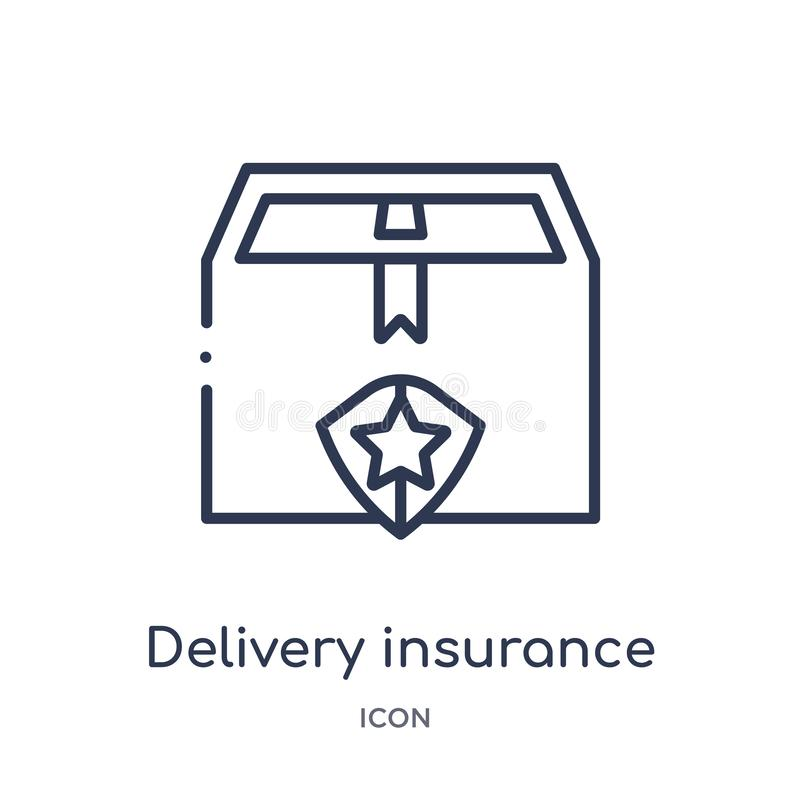 Linear delivery insurance icon from Insurance outline collection. Thin line delivery insurance icon isolated on white background. royalty free illustration