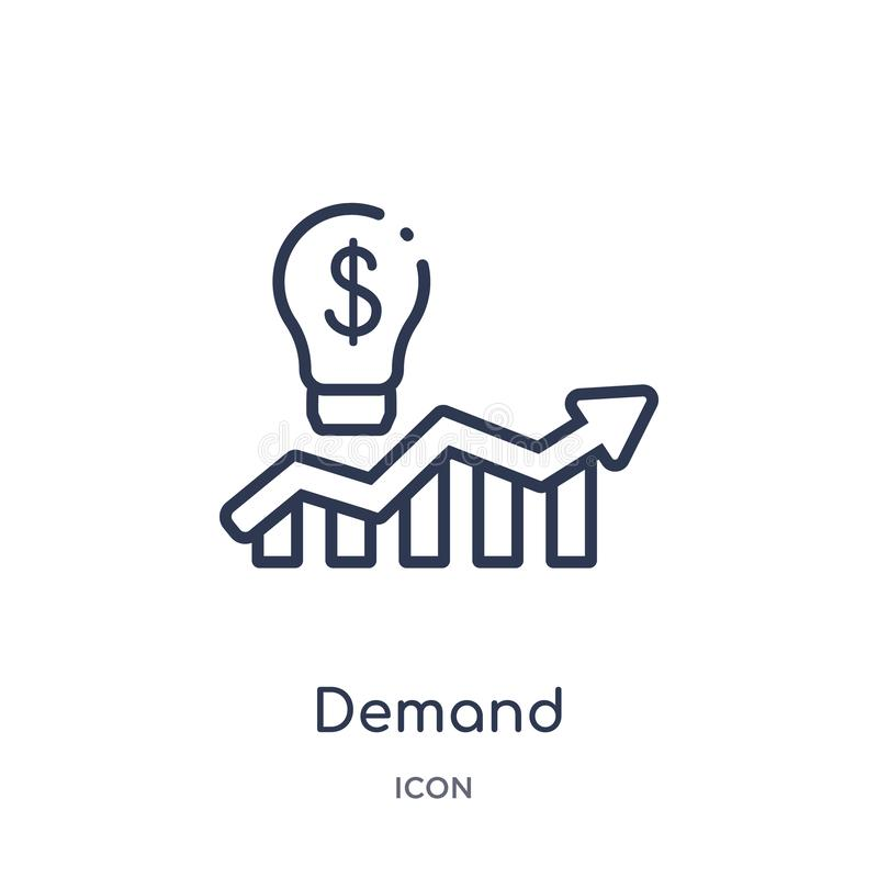 Linear demand icon from Marketing outline collection. Thin line demand icon isolated on white background. demand trendy stock illustration