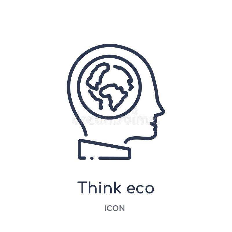 Linear denken Sie eco Ikone von der Ökologieentwurfssammlung Die dünne Linie denken eco Vektor lokalisiert auf weißem Hintergrund vektor abbildung
