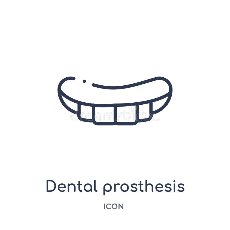 Linear dental prosthesis icon from Dentist outline collection. Thin line dental prosthesis icon isolated on white background. royalty free illustration