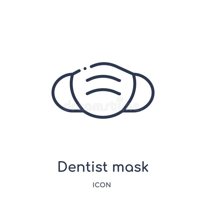 Linear dentist mask icon from Dentist outline collection. Thin line dentist mask icon isolated on white background. dentist mask stock illustration
