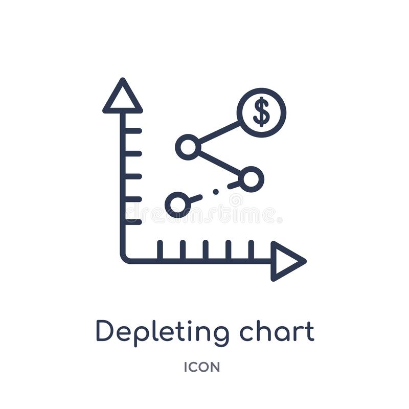 Linear depleting chart icon from Business and analytics outline collection. Thin line depleting chart vector isolated on white vector illustration