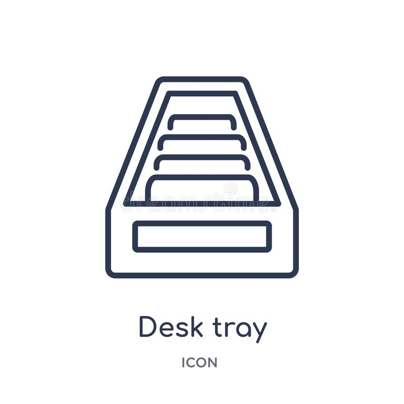 Linear desk tray icon from General outline collection. Thin line desk tray icon isolated on white background. desk tray trendy stock illustration