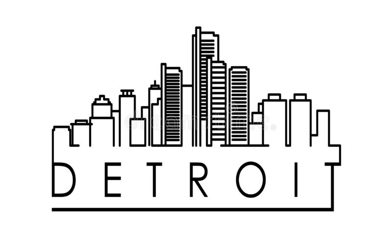 Linear Detroit City Silhouette with Typographic Design royalty free illustration