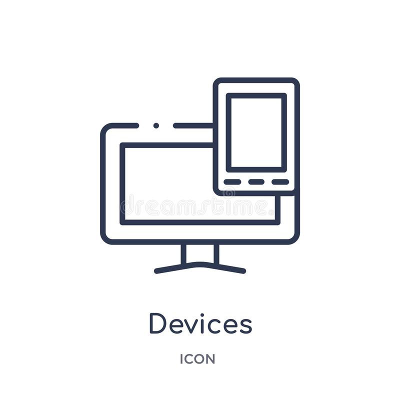Linear devices icon from Electronic devices outline collection. Thin line devices vector isolated on white background. devices royalty free illustration