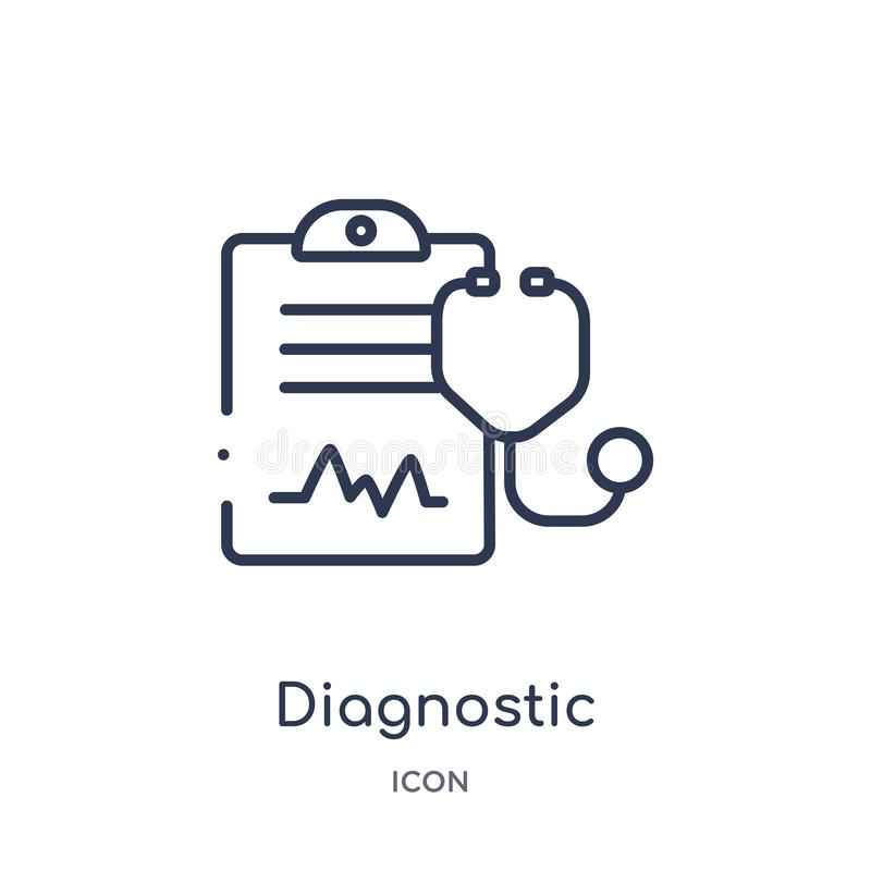 Linear diagnostic icon from Medical outline collection. Thin line diagnostic icon isolated on white background. diagnostic trendy vector illustration
