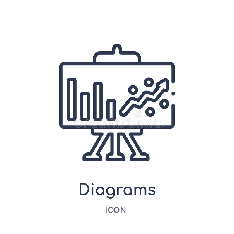 Linear diagrams icon from Marketing outline collection. Thin line diagrams icon isolated on white background. diagrams trendy stock illustration