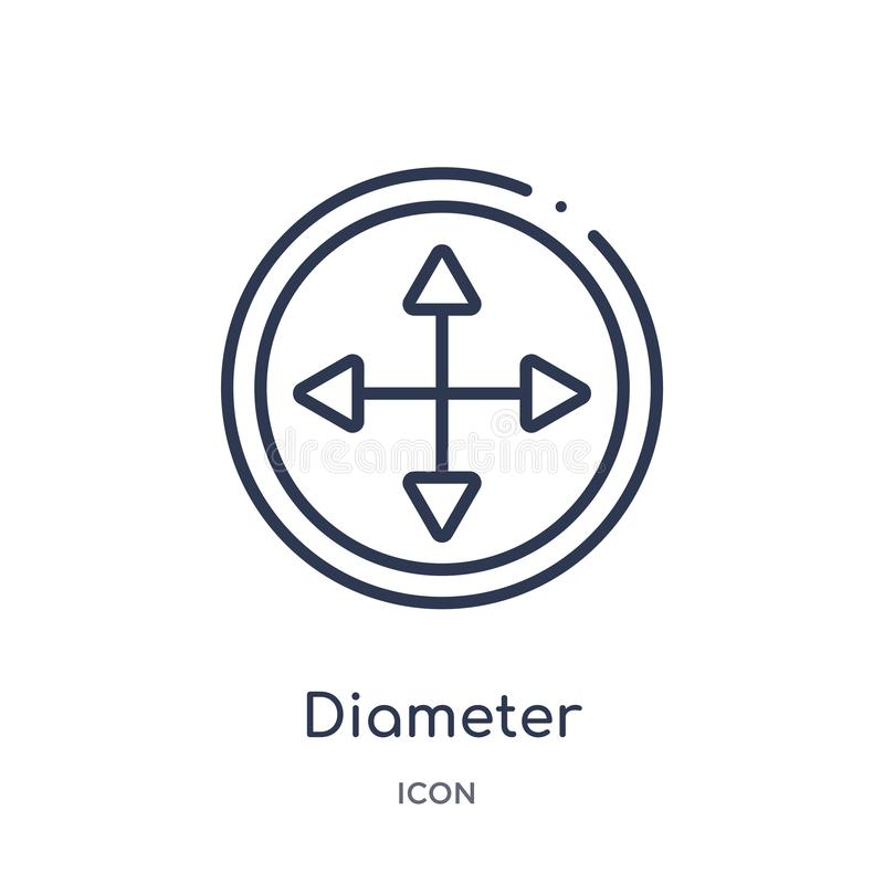 Linear diameter icon from Geometry outline collection. Thin line diameter icon isolated on white background. diameter trendy stock illustration
