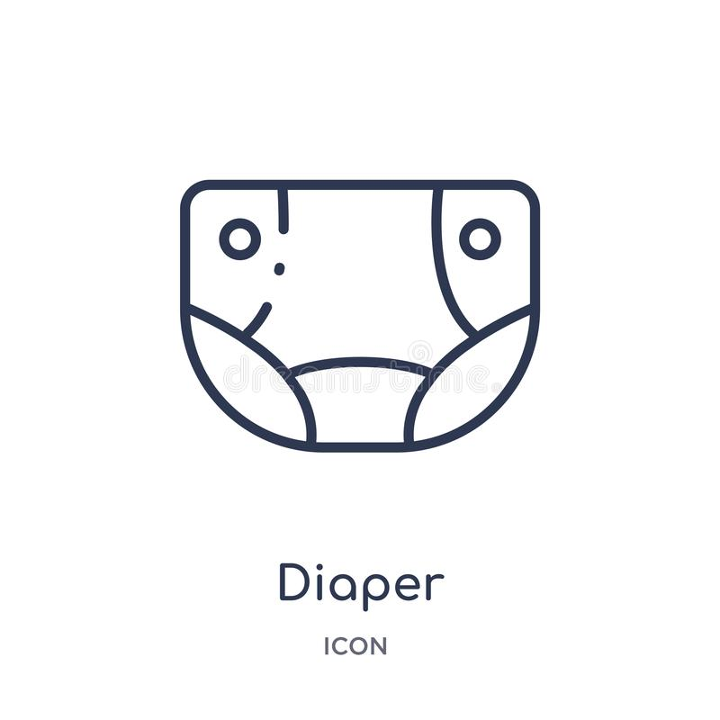 Linear diaper icon from Kid and baby outline collection. Thin line diaper icon isolated on white background. diaper trendy royalty free illustration