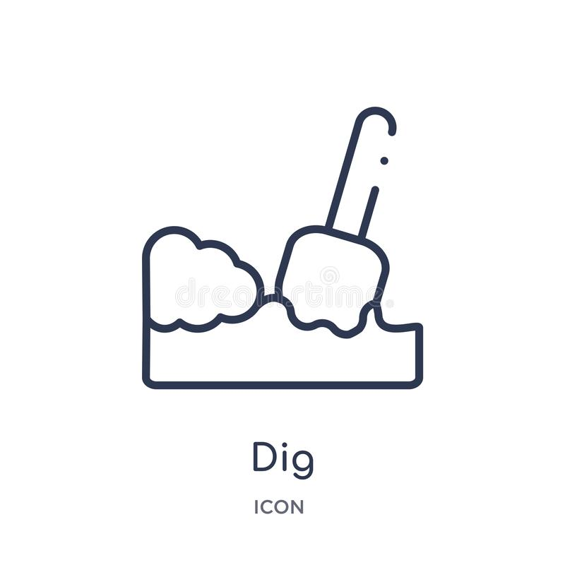 Linear dig icon from Agriculture farming and gardening outline collection. Thin line dig vector isolated on white background. dig. Trendy illustration vector illustration