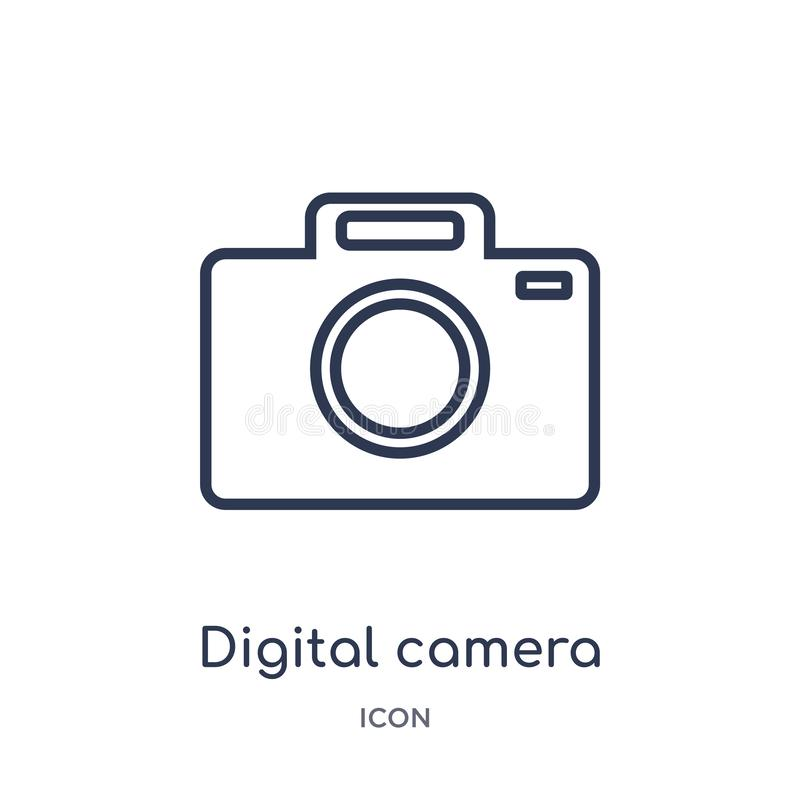 Linear digital camera icon from Electronic stuff fill outline collection. Thin line digital camera vector isolated on white. Background. digital camera trendy vector illustration