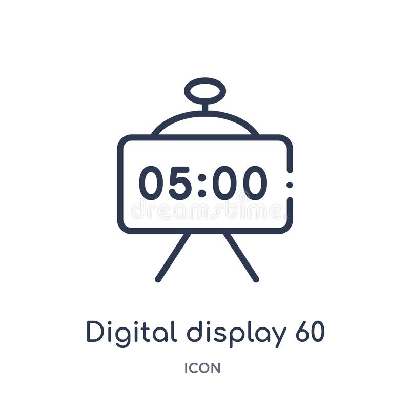 Linear digital display 60 icon from Education outline collection. Thin line digital display 60 vector isolated on white background vector illustration
