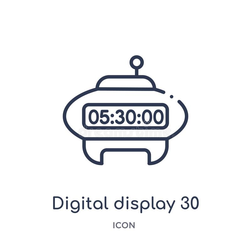 Linear digital display 30 icon from Education outline collection. Thin line digital display 30 vector isolated on white background vector illustration