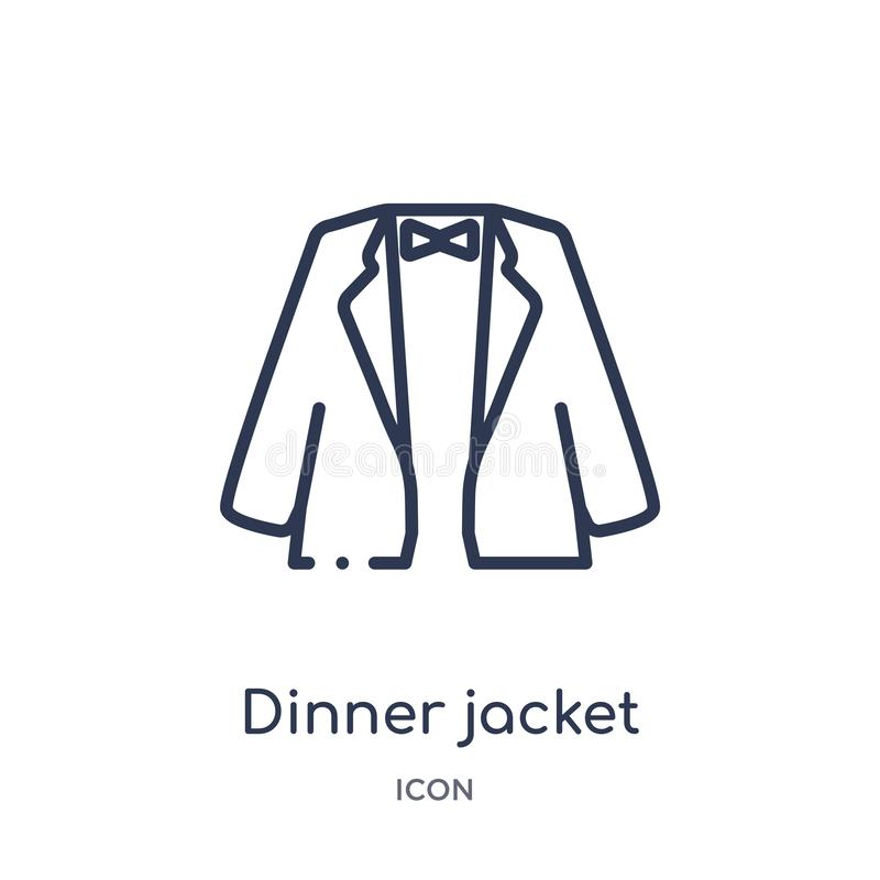 Linear dinner jacket icon from Clothes outline collection. Thin line dinner jacket vector isolated on white background. dinner vector illustration