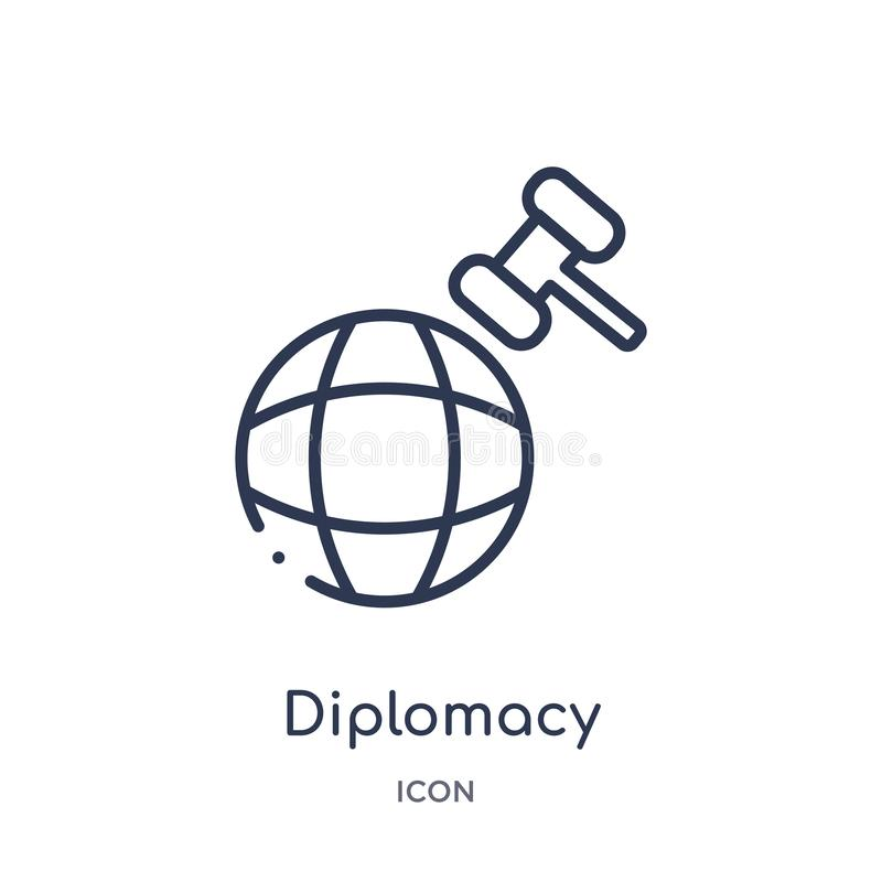 Linear diplomacy icon from Law and justice outline collection. Thin line diplomacy icon isolated on white background. diplomacy royalty free illustration