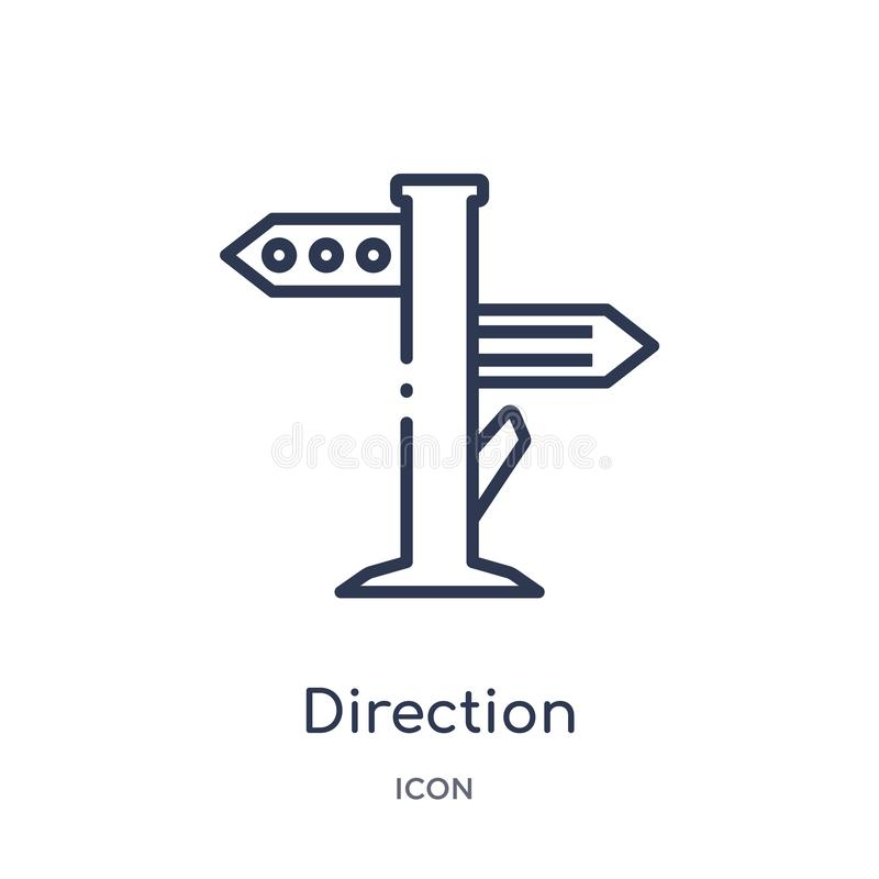 Linear direction icon from Camping outline collection. Thin line direction vector isolated on white background. direction trendy vector illustration