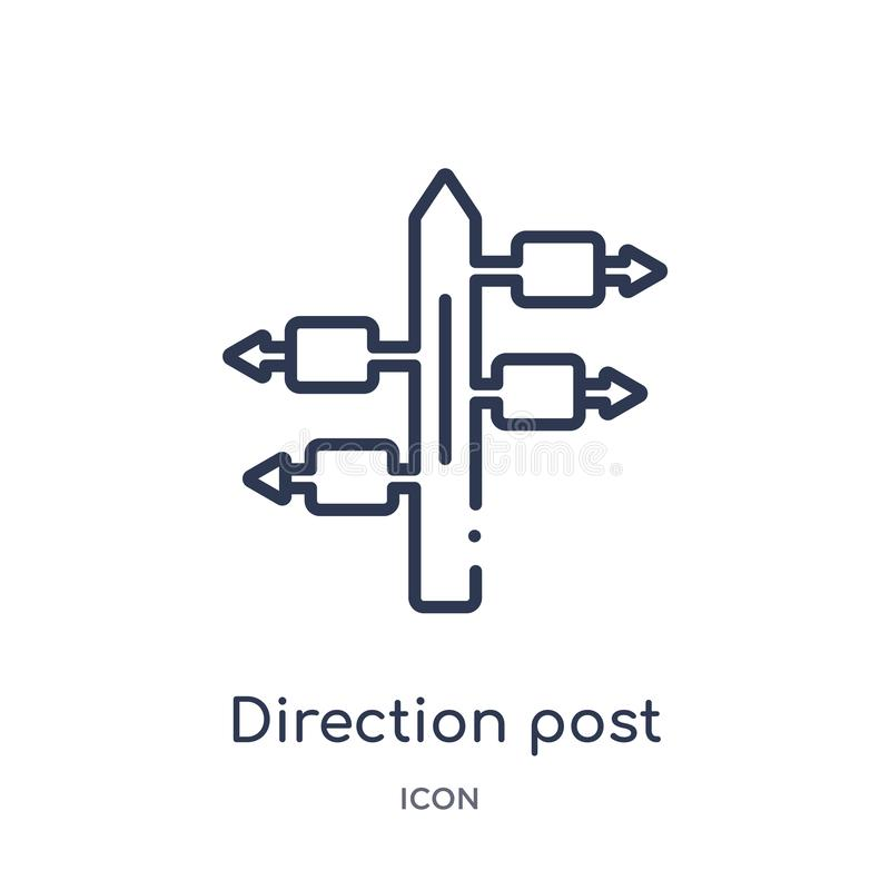Linear direction post icon from Airport terminal outline collection. Thin line direction post vector isolated on white background royalty free illustration