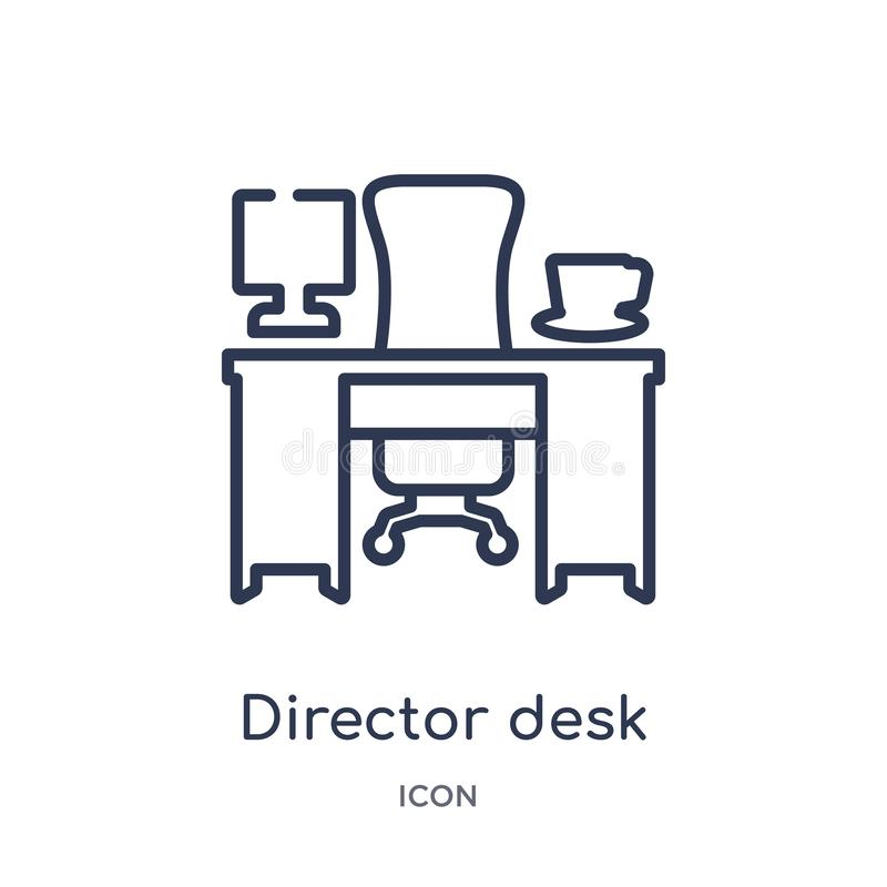 Linear director desk icon from Business outline collection. Thin line director desk icon isolated on white background. director vector illustration