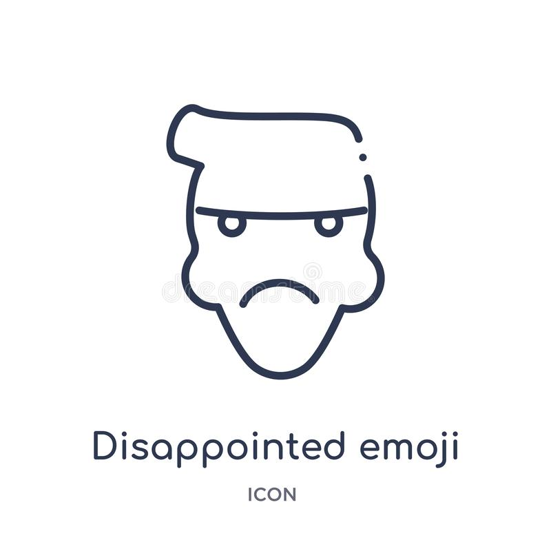 Linear disappointed emoji icon from Emoji outline collection. Thin line disappointed emoji vector isolated on white background. royalty free illustration