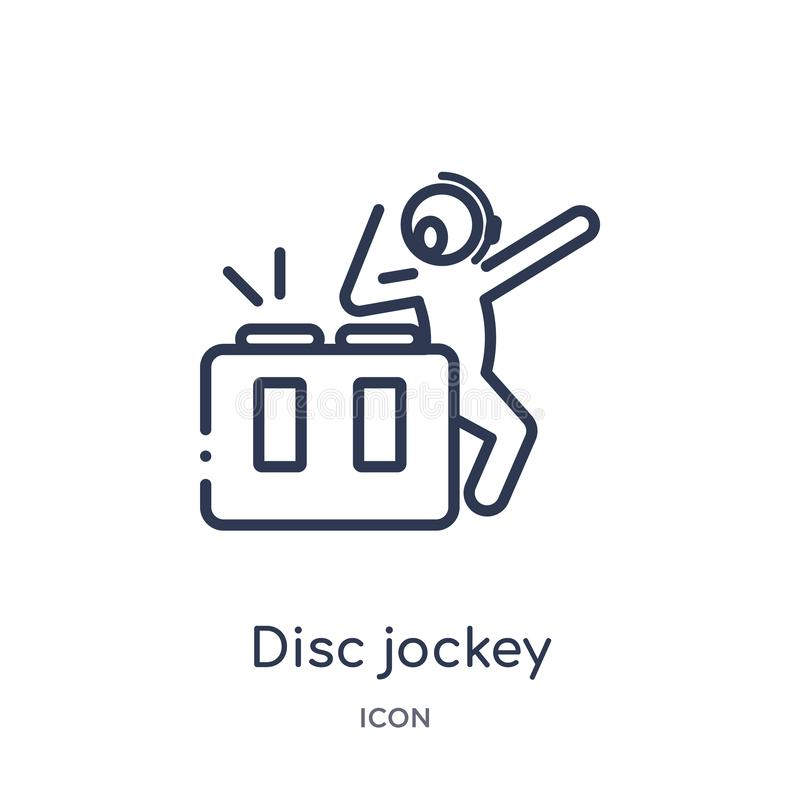 Linear disc jockey icon from Activity and hobbies outline collection. Thin line disc jockey vector isolated on white background. vector illustration