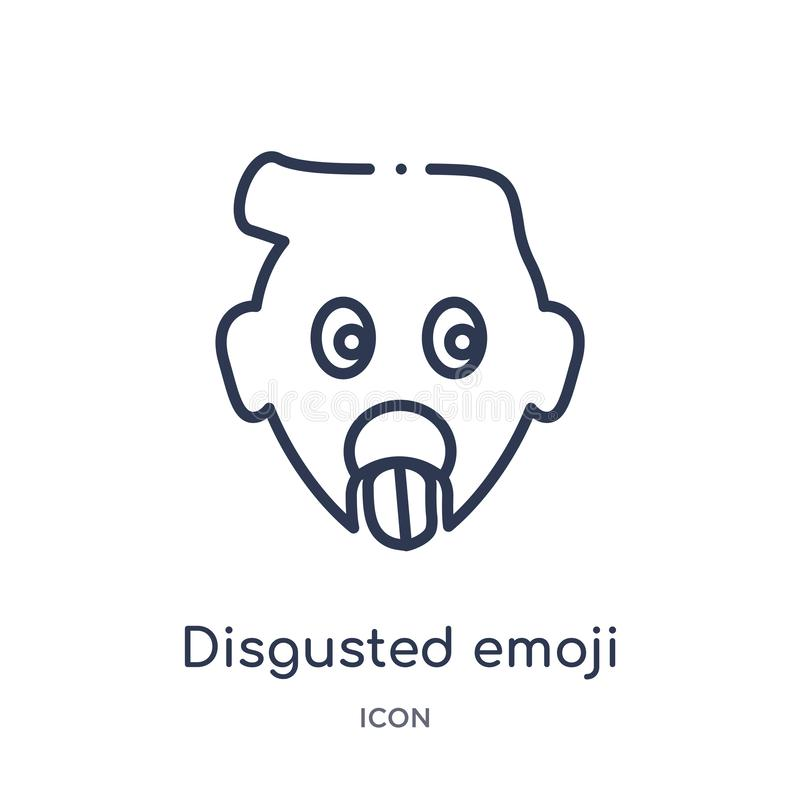 Linear disgusted emoji icon from Emoji outline collection. Thin line disgusted emoji vector isolated on white background. vector illustration