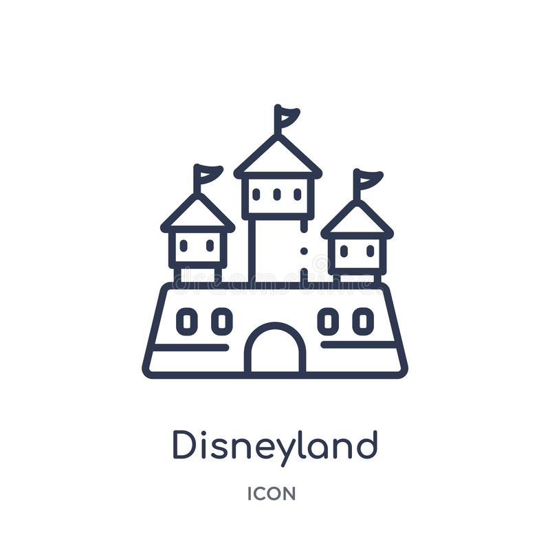 Linear disneyland icon from Entertainment and arcade outline collection. Thin line disneyland vector isolated on white background vector illustration