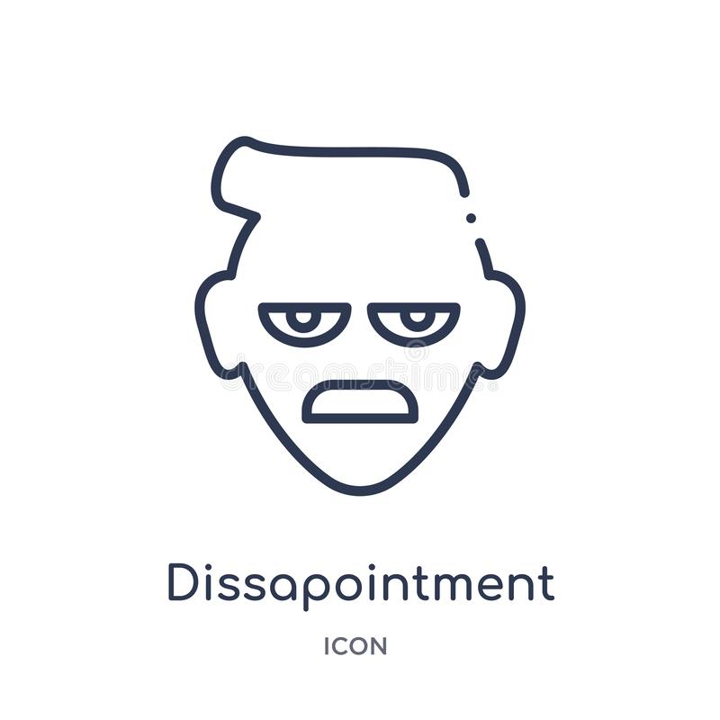 Linear dissapointment emoji icon from Emoji outline collection. Thin line dissapointment emoji vector isolated on white background stock illustration