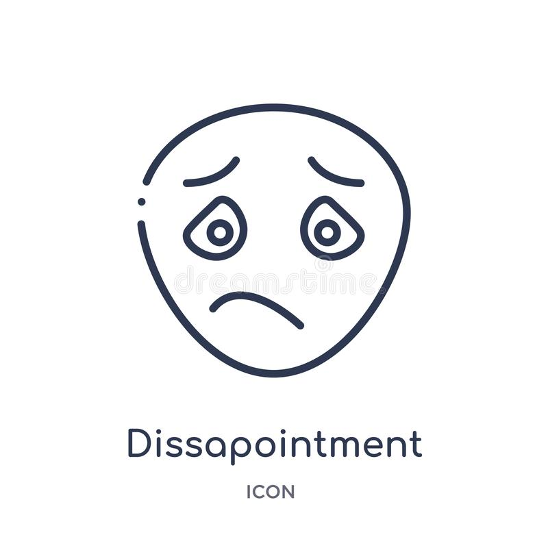 Linear dissapointment icon from Emotions outline collection. Thin line dissapointment vector isolated on white background. vector illustration