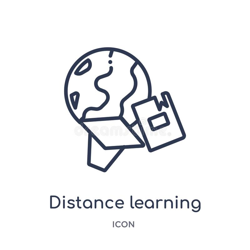 Linear distance learning icon from General outline collection. Thin line distance learning icon isolated on white background. vector illustration